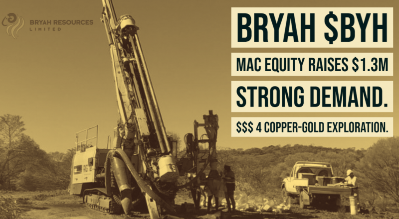Bryah completes $1.3 Million Placement through Mac Equity Partners